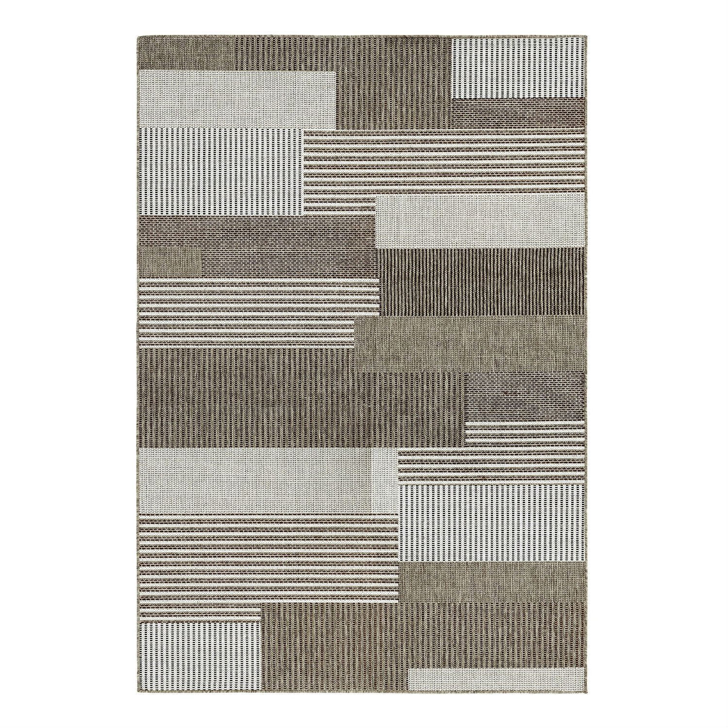 5'x x 7'6 Brown Sand Modern Geometric Stripe Area Rug, CMSR9901523 :  Relax in the comfort of your home with this 5'x x 7'6 Brown Sand Modern Geometric Stripe Area Rug. The varying motifs, ranging from graphic stripes to geometric patterns, are sure to fit in seamlessly in both your outdoor spaces and indoor rooms. These multi-purpose area rugs are constructed in a unique structured flat weave, boasting a smooth surface that is perfect for outdoor or indoor use. Woven using 100% fiber-enhanced polypropylene, each of the subtle patterns offer a highly durable pile with little upkeep required. Designed specifically to withstand outdoor elements, Monaco is UV stabilized to ensure each area rug in the collection retains its color due to sun exposure and other weather conditions, as well as mold and mildew resistant.