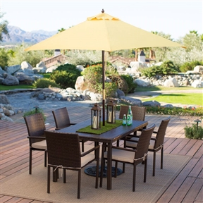 Outdoor Patio 9-Ft Wooden Market Umbrella with Yellow Shade Canopy, CL98184443 :  Give your patio a touch of Florida with this Outdoor Patio 9-Ft Wooden Market Umbrella with Yellow Shade Canopy. It comes in seven shades sure to complement your outdoor furniture and decorations, and the spun-polyester material and six-rib construction are durable enough for everyday use. A pulley-and-pin system lets you quickly lift and expand the umbrella without struggling, providing fast shade for your guests. It also comes with a hardwood pole that blends into your patio table, and the brass accent pieces add a decorative touch. Mahogany-stained hardwood pole with brass accents; Commercial Grade Yes; International Shipping Canada; Number of Ribs 6; Tilt None; Umbrella Shape Hexagon; Warranty Manufacturer Warranty Included.