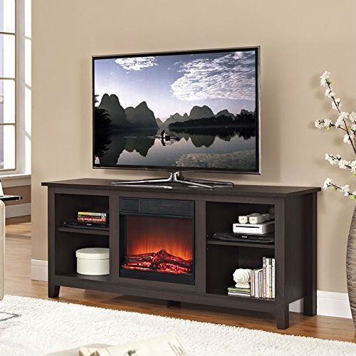 Create a warm, entertaining space in any room of your home with this Espresso Wood TV Stand with Electric Fireplace Heater Insert. Crafted from high-grade MDF with a durable laminate finish to accommodate most flat panel TVs up to 60 inches. Features adjustable shelving to fit your components and a cable management system. Installation requires no technician, simply plug into a standard household outlet and no venting required. Features: Rich, textured finish High-grade MDF and durable laminate Supports up to 250 lbs. Includes electric fireplace insert No electrician required, simple plug-in unit Accommodates most TVs up to 60 inches Adjustable shelving Ample storage space Ships ready-to-assemble with step-by-step instructions Materials: High-Grade MDF Dimensions: 16''L x 58''W x 25''H; Weight: 95lbs.