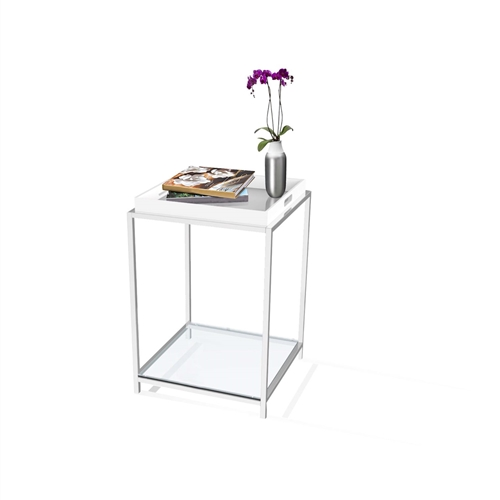 This Modern Classic Metal End Table with White Removable Tray combines urban design and multi-function use. The Modern End Table with Removable Tray in Black features a removable black tray that can be reversed to use as a flat surface, or as a serving tray. Clear tempered glass table top allows use of end table with, or without tray. Tray is not intended for direct contact with food; Will provide years of enjoyment.