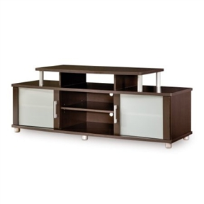A unique and attractive TV stand, this Modern TV Stand in Chocolate Finish - Fits up to 40-inch TVs mixes curved shapes, metal accents, frosted glass, and an original contrast finish in a choice of colors. The upper shelf accommodates most 36-inch and some 40-inch TVs and stands solidly on metal legs. Tempered glass on the doors protects equipment while keeping the front view clean and attractive. Constructed of composite wood panels that carry the Forest Stewardship Council (FSC) certification, the stand is an alternative to standard designs.