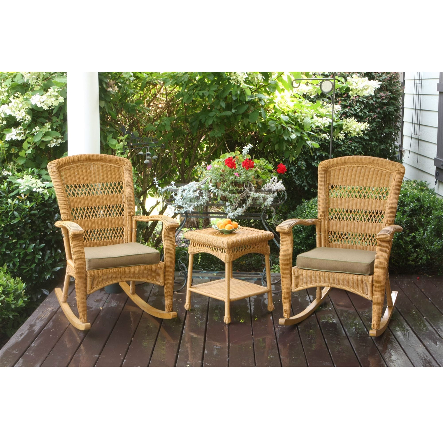 3PC Outdoor Porch Rocker Set w/ 2 Amber Wicker Resin Rocking Chairs & Table, T3PR46377 :  This 3PC Outdoor Porch Rocker Set w/ 2 Amber Wicker Resin Rocking Chairs & Table would be a great addition to your home. It has a wicker resin and a contemporary style. Glider: No; Cushions are included; Product Type: Seating group; Assembly Required: Yes; Product Warranty: 1 Year limited; Frame Material: Aluminum.