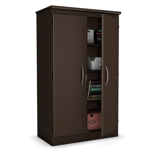 Organize and style any space with this 5-Ft Storage Cabinet Wardrobe Armoire for Bedroom Office or Garage in Chocolate. The clean design provides ample storage and the finish color options make it beautiful. The particleboard design is durable and it comes complete with locking doors and adjustable shelves. This cabinet is a helper in any room. Plastic handles with silver finish; Assembly Required; Material Laminate; Number of Shelves 4.