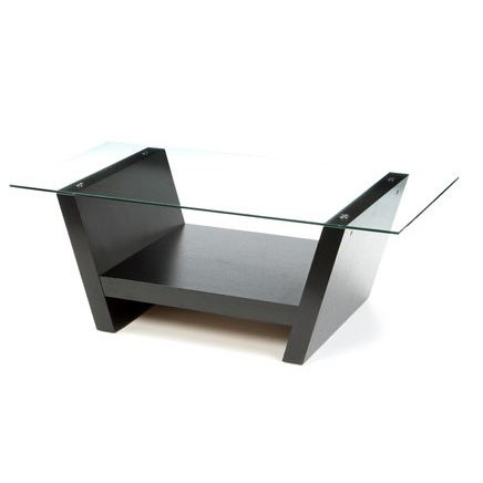 This Rectangular Glass Top Coffee Table with Black Wood Base would be a great addition to your home. Straightforward, yet stylish, simple design of the base and glass top complements any modern to classic furnishings. Two arched base for great support; Stylish table adds organization to busy family spaces; ISTA 3A certified; Base: Pedestal; Design: Table; Features: Shelves; Product Category: Coffee & Cocktail Tables; Shape: Rectangle; Style: Modern/Contemporary.