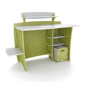 Green Eco-Friendly Composite Wood Kids Desk with File Cart, LG43KD20998 :  This Green Eco-Friendly Composite Wood Kids Desk with File Cart gives budding academics an efficient--and rather cool--place to compose their masterpiece book reports. Built with an asymmetric reversible design, the desk can be assembled with the storage shelves on either the right or left side in three different slots. A 29-inch PDA accessory shelf mounts on the back riser, a 17-inch CPU shelf extends from the side, and a rolling file cart rolls under the storage area for portable file storage. It's like a big puzzle! Conveniently placed cutouts provide concealed cable management for a tidy appearance. Available in ice-cream shades of pink and white, green and white, and blue and white, the desk has a double baked-enamel finish for exceptional durability. Matching bookcases are sold separately. This unit requires only three minutes to assemble and a few seconds to disassemble; all Legaré furniture is backed by a three-year warranty. --Kara Karll.  Made from engineered composite wood with genuine ash wood veneer; Certified by the Forest Stewardship Council; Disassembles in seconds for flat storage or transport; Available in several color combinations.