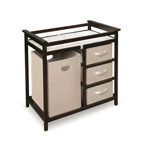 This Baby Changing Table with 3 Baskets and Hamper in Espresso keeps everything tidy and concealed for a clean look in the nursery. Large hamper for dirty duds, or for storing bulk packs of diapers, blankets, and toys! The hamper easily removes from its shelf to carry to your laundry room. Or, use the hamper elsewhere in the nursery or your house, leaving you a convenient spot in the changing table for your diaper pail or storage. Three pull-out baskets are ideal for changing supplies, linens, baby blankets, lotions, and toiletries. The baskets are also fully removable for use separate from the table, leaving you convenient, open storage cubbies/shelves. Includes changing pad (approx. size of 31 inches L x 17.5 inches W x 1 inch H) and safety belt. Changing pad is polyurethane foam covered with wipe clean PEVA (non-PVC) vinyl. Overall unit measures 34.25 inches W x 20.75 inches D x 34.5 inches H. Hamper measures 13.5 inches W x 14 inches D x 21.75 inches H. Baskets measure approximately 12.75 inches W x 17 inches D x 7 inches H. Hamper and baskets are ecru color, canvas-type fabric. Hamper and baskets fold for storage. Just remove the bottom panel and fold flat. Changing area has safety rails on all four sides. Metal support bar beneath the changing surface provides additional stability. Frame is made with multi-layer solid wood; shelves are engineered wood with veneer. Non-toxic finish. Fabric on the baskets and hampers is 80% polyester/20% cotton. For use up to 30 lbs (13.6 kg). Illustrated assembly instructions included. Actual color/finish may vary slightly from screen display. Wipe the table clean with mild soap and a damp cloth when needed; dry thoroughly. Spot clean hamper and baskets as needed. Never immerse in water. Toys and accessories shown with the table are for illustration purposes only. All measurements approximate.