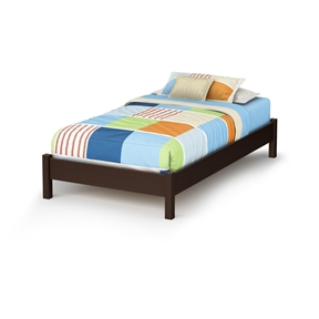 This Twin size Modern Platform Bed Frame in Chocolate Brown Finish is great value for your money, as it does not require a box spring. In addition, the decorative legs will give your bedroom a stylish touch. It is designed to support a maximum weight of 250-pound. It is also available in Pure White, Natural Maple or Pure Black finish. It measures 78-inch long by 43-inch wide by 13-1/2-inch high. It is delivered in a box measuring 81-1/2-inch by 23-1/4-inch by 4-1/4-inch weighing 100-pound. Made of non-toxic recycled CARB2 compliant laminated particle panels. Complete assembly required by 2 adults. Tools are not included. Made in Canada.