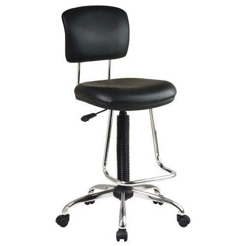 This Chrome Finish Drafting Chair with Teardrop Chrome Footrest features a thick padded vinyl seat and back. Also, features 360 degree swivel action. Carpet casters for an easy roll; Durable chrome base.