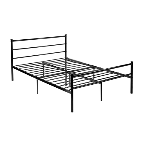 This Full size Modern Black Metal Platform Bed Frame with Headboard and Footboard eliminates the need for a box spring as your memory foam, spring or latex mattress should be placed directly on the floor. Uniquely designed for optimum support and durability the strong steel mattress support has multiple points of contact with the floor for stability and prevents mattress sagging, increasing mattress life. The bed frame full have enough space high of clearance under the frame for valuable under-bed storage space. Metal bed is excellent strength and durability, this bed frame is easy to bring home and set up; Bed is affordable mattress support system is metal construction and will conveniently and comfortably support your mattress while providing more than double the storage space found under traditional box springs and frames. Full bed supports up to 440 lbs. of evenly distributed weight; Strong mattress support prevents sagging and increases mattress life. Strong structure: Double bed frame with Large Loading ability. Super strong - 100% metal construction. Easy assembled: Low-Stress, Easy Assembly in minutes with no tools required.