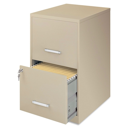 This Metal Two Drawer Locking Vertical File Cabinet in Putty Color is best for home office management or in offices where occasional retrieval is required. Nylon Roller suspension; Factory installed locks; 18 inch deep drawers.