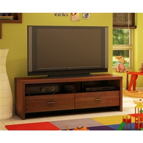 With this 42-inch Eco-Friendly TV Stand in Cherry Finish you can cozy up to a furniture collection that marries the beauty of a rich sumptuous cherry finish with the practicality of built-in storage. Boasting clean lines and generous open and enclosed shelves, the Skyline Collection turns a living room or entertainment area into an attractive, functional space where it's easy to relax. Grooves on the doors and drawers of each piece lend a trendy appeal to the finish, which is further enhanced by sleek metal handles. Built-in lights bathe your favorite treasures in a warm glow, drawing the eye to your precious collectibles and belongings and turning ordinary furniture into an extraordinary showcase. Environmentally Preferable Product (EPP) certification –Already meeting the very strict 2009 California Formaldehyde Regulations; Greener communication tools – Reduced format on recycled paper and conversion to electronic format. A Green Future in mind: a member of the Composite Panel Association whose mission is to work towards more ecological and environment-friendly panel solutions.
