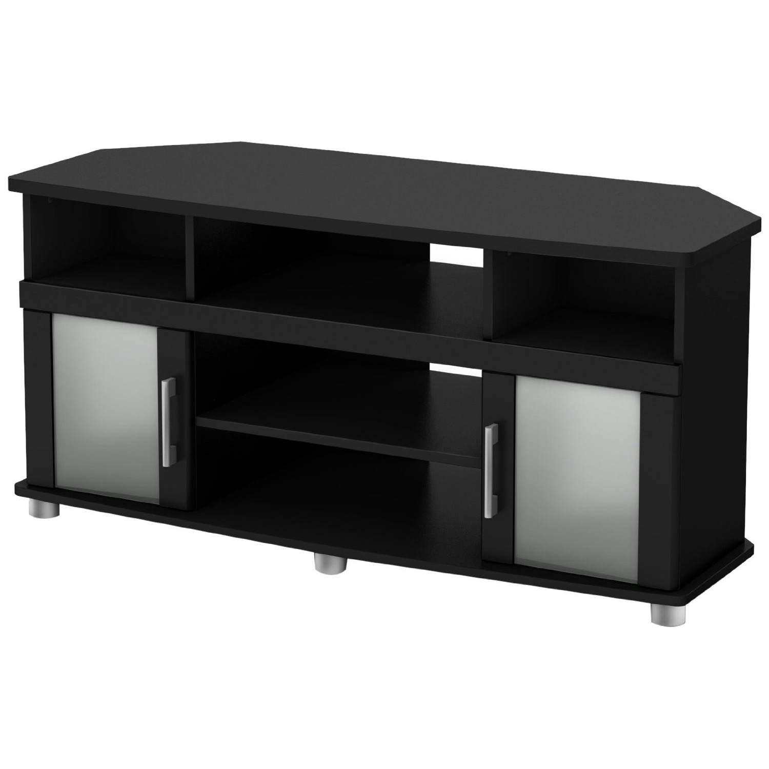 This Black Corner TV Stand with Frosted Glass Doors in pure black finish combines curved lines, silver finish metal handles and frosted glass doors for popular contemporary style. It is a perfect blend of form and function, featuring both open and closed storage options. The living room has never been so tidy and organized. It can accommodate a tv up to 50-inch and its weight capacity is 150-pound. For complete interior dimensions see spec sheet. Also available in chocolate finish. The back is not finished and the accessories are not included.