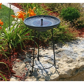 Matte Black Bowl Solar Fountain Bird Bath with Wrought Iron Stand, SVG688145 :  Certain to please with an elegant verdigris bowl resting upon a sturdy wrought iron stand, this Matte Black Bowl Solar Fountain Bird Bath with Wrought Iron Stand is a lovely choice. This fountain operates in direct sunlight, using a solar panel to power a low-voltage water pump. It requires no wiring; simply install and enjoy. As it uses the power of the sun, there are no operating costs. The one year manufacturer warranty guarantees long-lasting quality. Eco-friendly, solar-powered for outdoor use; Holds over a gallon of water in 2-inch deep bowl; Reservoir cover included for use without the solar panel; International Shipping Canada; Light No; Location Outdoor; Material Resin & Fiberglass; Material Type Resin Style Pedestal, Bird Bath Type Solar Usage; Residential Water Sound Low.