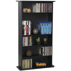 This Black Media Storage Cabinet Bookcase with Adjustable Shelves has a classic design that complements all types of home decor. The compact frame fits almost anywhere, and the wide base provides greater stability.