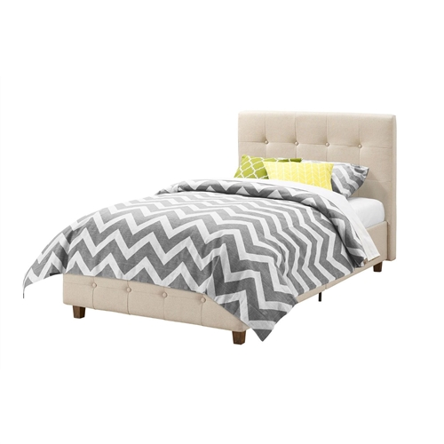 This Twin size Tan Linen Upholstered Platform Bed Frame with Button-Tufted Headboard creates the perfect centerpiece for your bedroom! the low profile headboard and footboard, designed with square tufted detailing give the piece a modern look and feel. Its beautiful linen upholstery and thick cushioned padding will make your room look like a luxurious and comfortable haven to sleep in. The bed's clean square profile is built with multiple wooden slats for support and durability and does not require a box spring. Available in twin, full or queen size, the bed is available in various colors to better suit your needs.