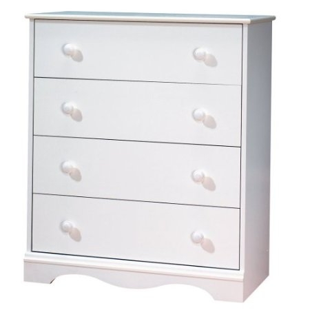 Ensure your baby's safety with this White 4 Drawer Bedroom Chest with Wooden Knobs. Designed to offer maximum security these items reflect the latest styling while allowing you to keep baby's room neat and organized. This dresser fitted with attractive wood handles is ideal for all your little one's clothing. Four practical drawers Drawer interior dimensions: 26.5'W x 14.25'Back-to-Front Wooden knobs Meets or exceeds all US Consumer Product Safety Commission Standards and conforms to ASTM standards as well Decorative kick plate Equipped with polymer glides that includes dampers and catches for enhanced safety Made of EPP certified panels 5-year limited warranty.