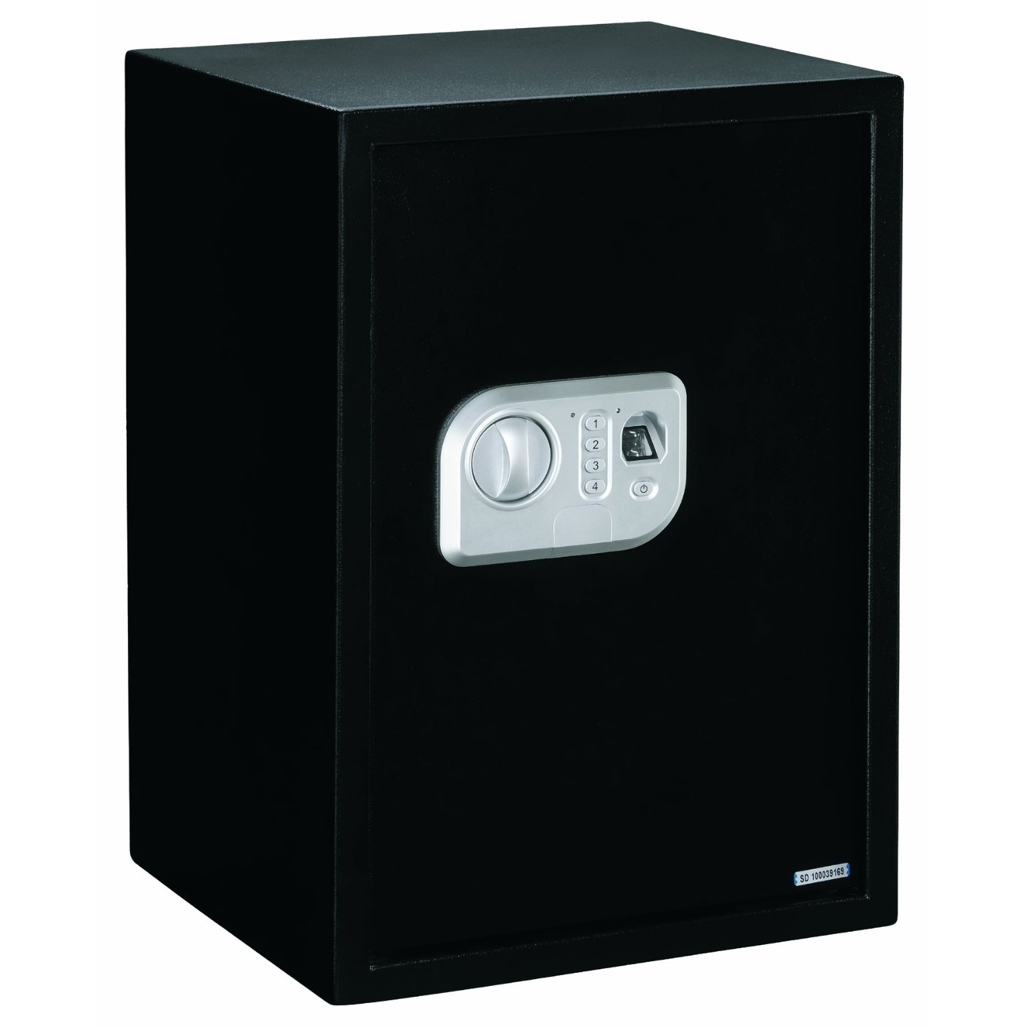 Large Personal Gun Safe with Fingerprint Open Lock, SOBELPS13097 :  This Large Personal Gun Safe with Fingerprint Open Lock is a personal safe with biometric lock can be programmed to accept up to 32 different fingerprints and provides greater security and quicker access to the safe's contents. Great for storing valuables, pistols, and ammo at home or on the road, this safe features a solid steel, pry-resistant door with concealed hinges and 2 steel live action locking bolts. It offers pre-drilled holes for mounting to floor or shelf, and fastening hardware is included. Other features include two removable steel shelves with egg crate foam padding (also found on the bottom), an electronic lock, and hidden trouble key. Exterior has a black epoxy paint finish.