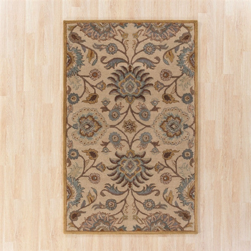 10-Ft x 14-Ft Tufted Wool Area Rug Handmade in Beige Light Blue Floral Pattern,  MAR5958181014 :  Sporting a skillfully ornate design, this 10-Ft x 14-Ft Tufted Wool Area Rug Handmade in Beige Light Blue Floral Pattern proves to be an ideal option to use in the living room or dinette. Handmade from premium-quality wool, this area rug is high on sturdiness and durability. It has a base color of beige and light blue, which is further accented with floral motifs of multiple colors. The 10-Ft x 14-Ft Tufted Wool Area Rug Handmade in Beige Light Blue Floral Pattern is offered in a range of shapes and sizes, which can be chosen to suit the floor area of your room. It has a cotton canvas and latex back, which helps the rug stay in place without skidding. Avoid excessive heat or agitation, We recommend using a professional rug cleaner on an annual basis. Wool rugs are more prone to bleeding and staining than their synthetic counterparts, thus requiring extra prompt and careful cleaning. To clean, use sponge and soap mix to blot and gently remove remainder of stain; Avoid using excessive water; Product Warranty: 1 year; Outdoor Use: No; Country of Manufacture: India.