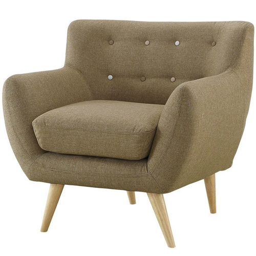 Take notice and engage your sensibilities with this Brown Upholstered Modern Armchair Mid-Century Accent Chair. Remark is gracefully positioned on solid natural wood dowel legs designed according to mid-century sentiments. Whether settling in with coffee and brunch, or entering a spirited discussion with friends, Remark's polyester upholstery, 2 rows of finely stitched back seat buttons, and organic form ensure an eye-catching appeal at every turn. Bring depth and modernity to your contemporary living room or lounge area with the Brown Upholstered Modern Armchair Mid-Century Accent Chair. Constructed from polyester blend and can catch fire; Chair is free of chemicals; 1 Year warranty; Chair Design: Arm chair; Removable Seat Cushion: Yes; Upholstery Material: Polyester/Polyester blend; Cushion or Upholstery Fill Material: Foam; Pattern: Solid; Frame Material: Wood. Non-Toxic: Yes; Removable Back Cushion: No; Welt on Cushions: Yes; Tufted Cushions: Yes; Arm Material: Fabric; Arm Type: Flared arms; Leg Material: Wood; Leg Design: Straight legs.