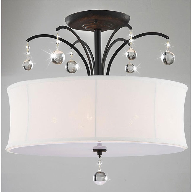 This Indoor 5-light Antique Bronze White Shade Flush Mount Chandelier features an antique bronze finish with a single white shade. The clear crystal adds elegance to this lighting fixture and coalesces style with elegance. This fixture does need to be hard wired. Assembly is required. Professional installation is recommended.