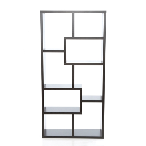 Seamlessly blending utility and style, this Modern 70.75-inch High Display Cabinet Bookcase in Black Wood Finish is sure to garner a lot of compliments. A simple yet elegant piece of furniture, it looks great with any type of decor. It exhibits a lovely construction that has fine lines and clean cuts. Rectangular in shape, it has uniquely shaped shelves, which are truly captivating. The Modern 70.75-inch High Display Cabinet Bookcase in Black Wood Finish is crafted wholly out of wood for optimum quality and longevity. The traditionally-styled cabinet has a warm cappuccino finish, which looks lovely in any backdrop. The cabinet has eight unevenly shaped shelves that create a charming design motif. These shelves come in various sizes, thereby allowing you to store anything of your choice. Keep this cabinet in the living space to hold decor pieces, or in the study to arrange your books and magazines. Alternately, this cabinet can also be used to stack your multimedia resources like CDs, DVDs, or vinyl records. The Modern 70.75-inch High Display Cabinet Bookcase in Black Wood Finish is lightweight and easily moveable across the house. It requires minimal assembly and can be put together in no time. It is easy to maintain and needs occasional vacuuming. You can use a soft, dry cloth to keep dust and dirt off its surface.
