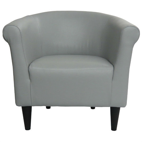 Classic style elements with a contemporary twist make this Gray Faux Leather Upholstered Accent Chair Club Chair - Made in USA a great addition to almost any room. The Gray Faux Leather Upholstered Accent Chair Club Chair - Made in USA is made with quality, comfort and contemporary style in mind. Embellish your room with the clean lines and contemporary materials. Removable Seat Cushion: No; Style: Contemporary; Assembly Required: No; Cushion or Upholstery Fill Material: Polyester; Pattern: Solid.