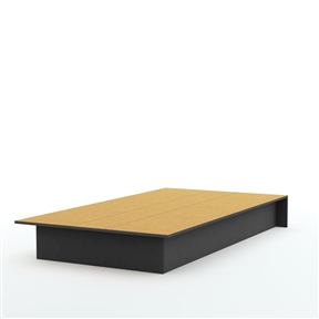 Ideal for a child's or guest bedroom with limited space, this Twin-size Platform Bed Frame in Black Wood Finish features translucent rubber corners to assure maximum safety. With its attractive black finish, this bed is the perfect choice for virtually any decor. This bed is made of recycled CARB compliant particle pannels. This bed has to be assembled by two adults. Measures 40 inches wide by 74.75 inches deep by 8.25 inches high. It is delivered in one box measuring 80 inches by 22 inches by 8 inches and weights 93 pounds. Tools are not included. 5 year warranty. Made in Mexico.