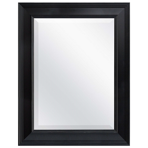 This Black 27.5 x 21.5 inch Beveled Bathroom Mirror with Wall Hangers is framed with classic moldings with foil finishes. The overall size of the mirror measures 21.5 Inches by 27.5 Inches and can be hung horizontally or vertically. The mirror is 15.5 Inches by 21.5 Inches with a 1 inch bevel. Very nice styling fit for bedroom, bath, or living room. The heavy duty hangers are already mounted to the back of the mirror. D Ring hangers included.