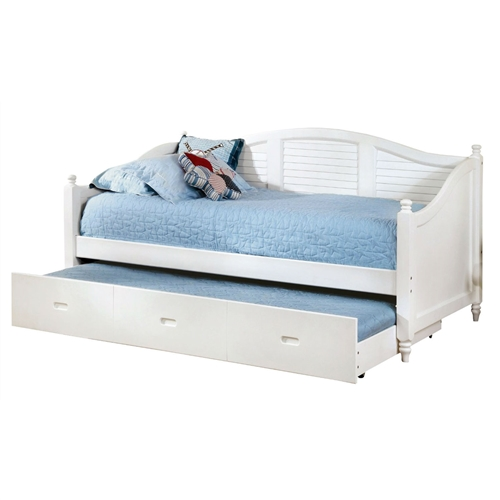 "This Twin size Louver White Wood Daybed with Roll-out Trundle Bed is a contemporary classic, inspired by the grace and proportions of vintage cottage styled furniture, our deep-seated daybed is more luxe than a chaise, more compact than a regular bed. Elegant camel back designed louver style back frame with accented finials. Easy roll-out twin trundle included. The expertly crafted solid wood and wood veneers internal frames are reinforced with double dowels and corner blocks. Daybeds are mattress ready, utilizing European style slats foundation - slat kit included. Manufactured in China, Assembly Required. Available bed colors for your selections: Black and White. Overall Dimensions: 81""L x 42.13""W x 42""H. Matching case goods sold separately. Decor not included."