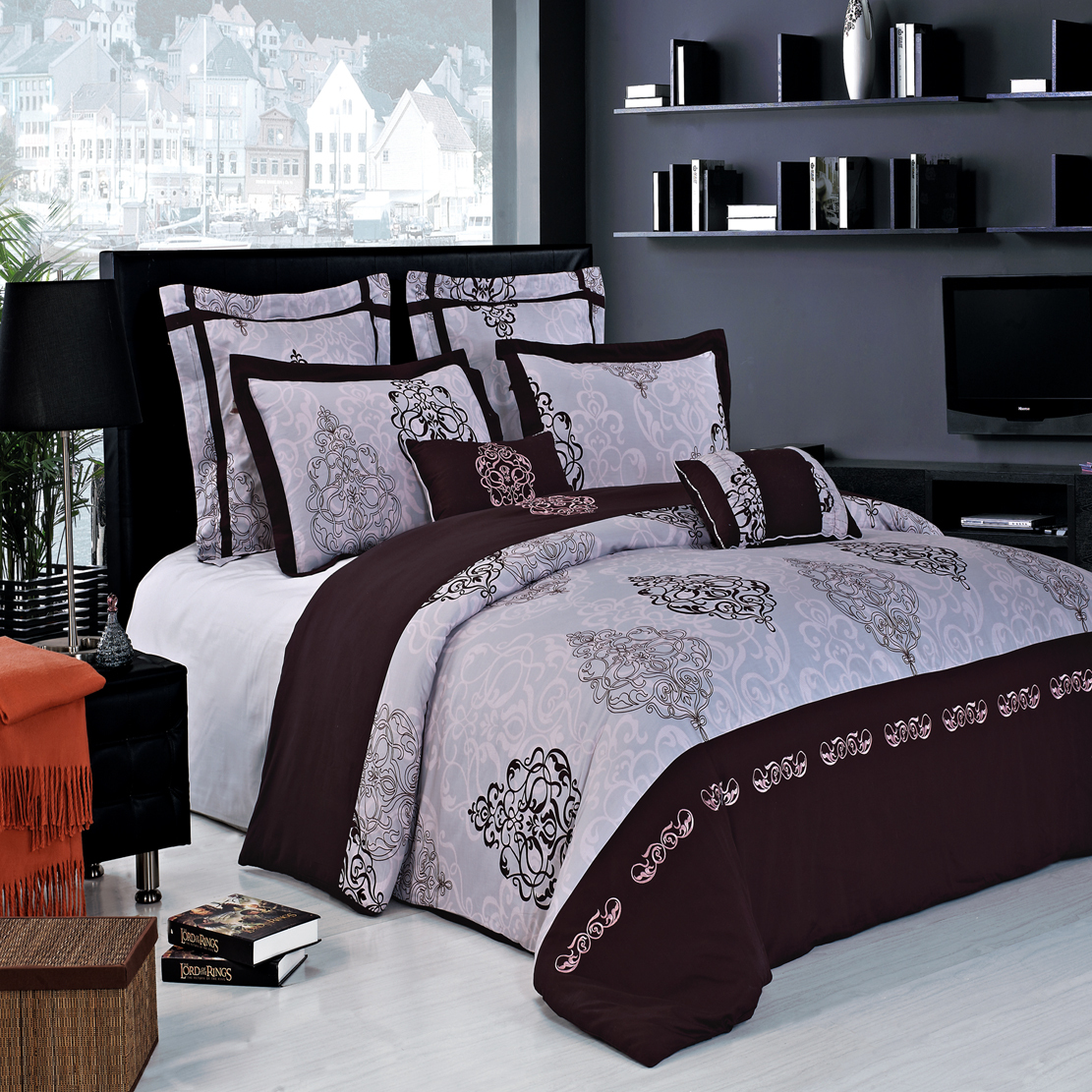 Gizelle 100% cotton Embroidered 7pc Duvet cover Set. The Gizelle Brown, Light Pink and Grey by Royal Hotel Collection is a rich contemporary Embroidered/Print design in warm stylish tones. The duvet cover set is completed with coordinated Two Pillow shams, Two European shams & Two Decorative cushions. The over all look is one of the simplicity and elegance that will be enjoyed for years to come. The Quilt cover & pillowcases, European pillowcases, and Cushion covers are made of 100% Cotton and the cushion covers are filled with polyester.