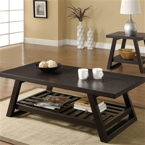 This Contemporary Coffee Table with Slatted Bottom Shelf in Rich Brown would be a great addition to your home. This casual styled coffee table is the perfect addition for any room.