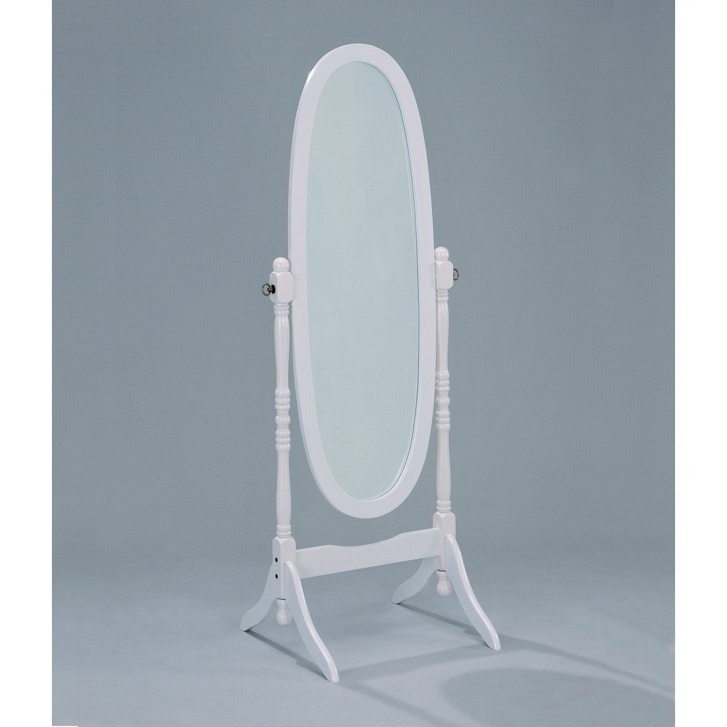 """Oval Cheval Floor Mirror in White Finish, CMIWF4995:  Beautifully designed with its white finish this Oval Cheval Floor Mirror in White Finish can enhance any room decor. While its full length height makes it practical in use, Its beautiful design and craftsmanship is strong enough to support your decor. This cheval mirror measures 23 1/4"""" x 19 1/4"""" x 59 1/2"""" H."""