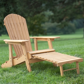 Reclining Adirondack Chair with Pull-out Ottoman in Natural Fir Wood, CBDC35158 :  This Reclining Adirondack Chair with Pull-out Ottoman in Natural Fir Wood is not your father's Adirondack chair. It features superior craftsmanship and an ergonomic structure that makes it an amazing spot to enjoy reading, relaxing, and napping. It even features a pull-out ottoman and enormous armrests. Best of all, the Asian fir construction ensures that it will last season after season with a consistent level of premium comfort. International Shipping Canada; Position 2 Positions; Seat Style Adirondack; Surface Natural 31; Wood Type Asian Fir; Constructed from kiln-dried fir;     Spacious armrests and curved seat; Chair reclines for added comfort.