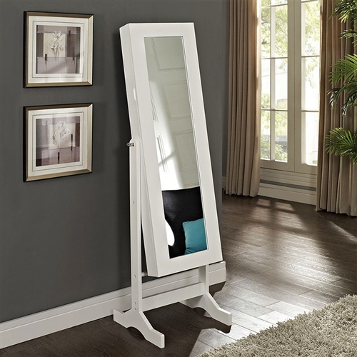 Modern Jewelry Armoire Full Length Tilting Cheval Mirror in Gloss White Finish,  MJA516984815 :  A truly magnificent jewelry collection demands a suitable storage solution, and the Modern Jewelry Armoire Cheval Mirror - High Gloss White delivers with organization opportunities galore and a full-length tilting mirror for admiring the results of your self-ornamentation. Made from durable engineered wood with high-gloss white finish, this cheval mirror armoire has simple lines and graceful feet for a style that would blend in with modern or traditional bedrooms alike. Entire cabinet is constructed of MDF; legs and horizontal bars are made of solid birch wood. Necklace hooks for tangle-free organization; Pocket shelves store bracelets or other loose pieces; Style Modern / Contemporary.