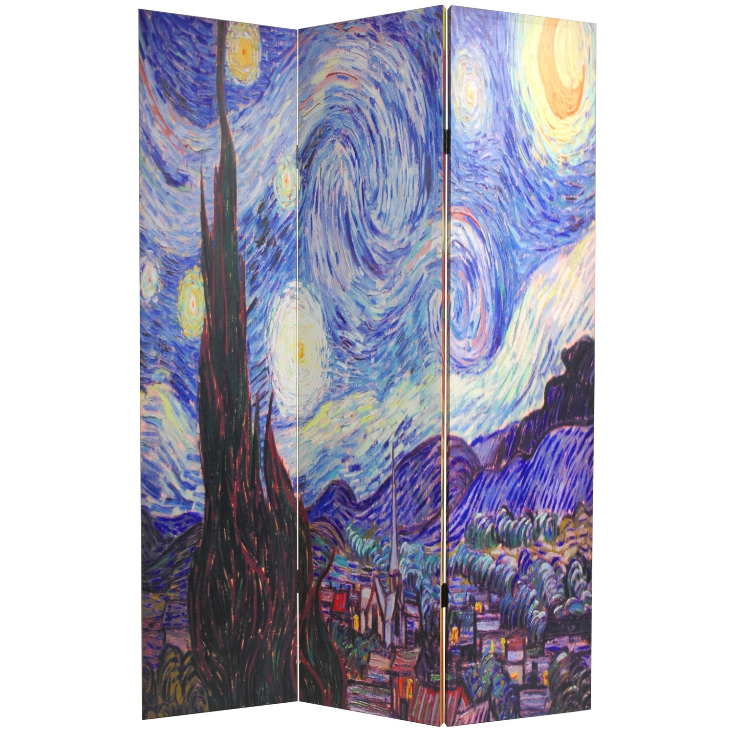 "Double Sided 3-Panel Room Divider with Van Gogh Starry Night & Sunflowers, WVGRD1045594 :  This Double Sided 3-Panel Room Divider with Van Gogh Starry Night & Sunflowers is a unique folding floor screen, bursting with strong colors and interesting shapes, a reproduction of a photograph of part of Van Gogh's ""Starry Night"" on one side and ""Sunflowers"" on the other--bright, powerful images, printed onto a limited number of portable, durable, 3 panel canvas room dividers. An artistic, decorative accent, and a great way to introduce rich colors into spare modern interior design and décor--funky, contemporary--as well as a practical, effective, folding floor screen.  Material: Reinforced spruce wood; Hardy, kiln dried wood;     It is covered top to bottom, front and back, and on the edges, with stretched poly-cotton blend canvas; Printed with a high saturation ink to create a beautiful, long lasting image; Almost, entirely opaque very little light can pass through the double layer of canvas, offering complete privacy; Very tough and durable, yet light and portable; Great for dividing space, providing privacy, hiding unsightly areas or equipment, background for plants or sculptures, or defining a cozy space. Product Type: Folding; Primary Material Details: Polyester/cotton blended canvas; Assembly Required: No; Style: Art print; Theme: Vintage; Color: Multi-colored; Hardware Finish: Lacquered Brass; Country of Manufacture: China."