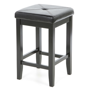 """Comfort and style combined. The Set of 2 - Black Bar Stools 24-inch High w/ Cushion Faux Leather Seat features solid hardwood construction. The cushioned seat is upholstered in simulated leather, that is stain and spill resistant. Foam cushioned seat; Seat upholstered in durable stain resistant simulated leather; Manufacturer provides 3 months limited warranty; Style: Contemporary; Seat Height Type: Counter (24""""-27""""); Seat Style: Square; Leg/Base Type: 4 legs; Footrest Included: Yes; Country of Manufacture: Viet Nam."""