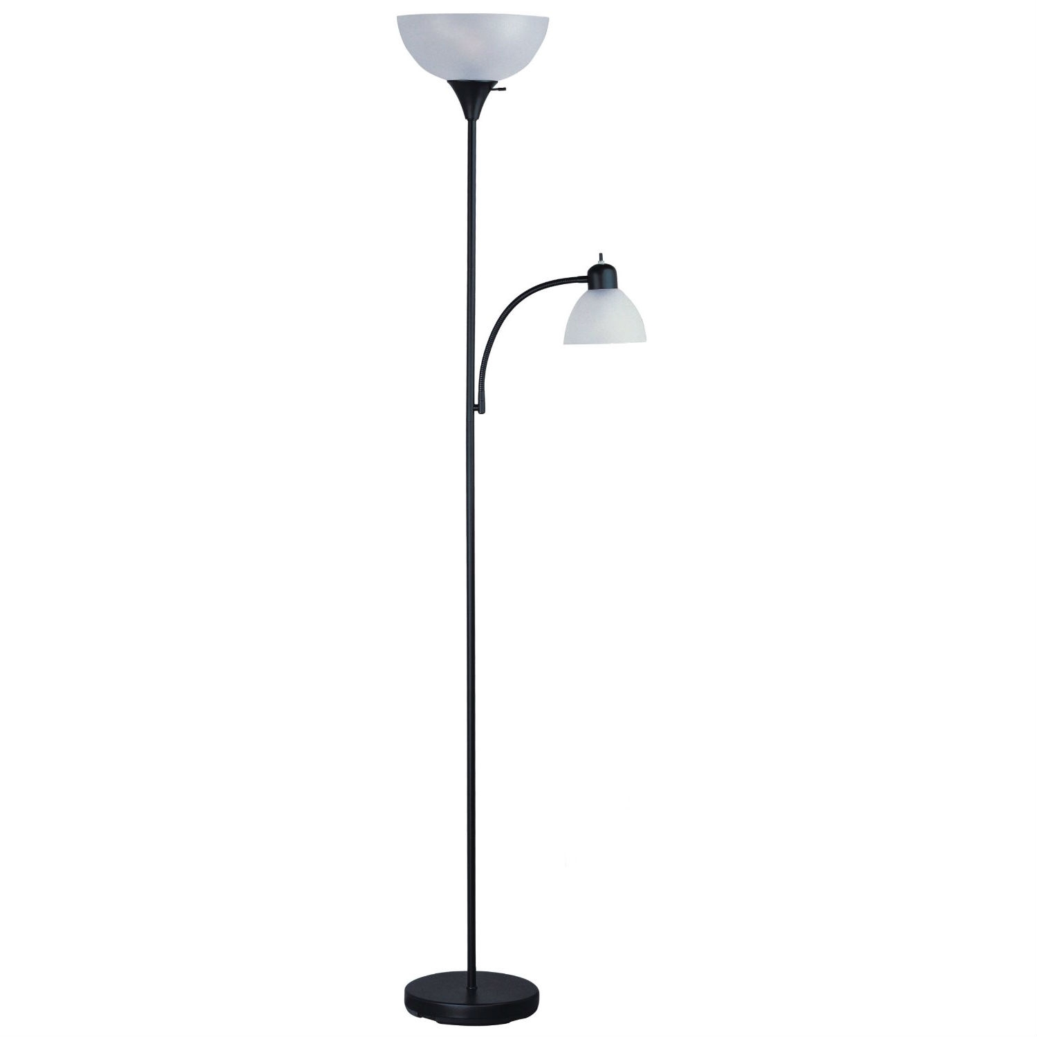 This 72-inch Tall Black Floor Lamp with Adjustable Reading Side Lamp with adjustable side arm reading lamp is perfect as a general lighting-Piece. It features a contemporary design, a gorgeous black finish with frosted shades, and a 3-way switch on torchiere. It also includes a 60-Watt additional side arm reading light. It is UL listed. Bulbs not included.