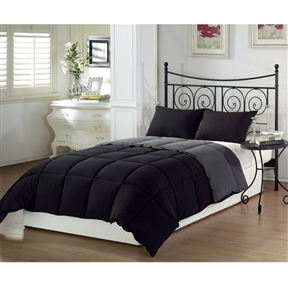 This Full/Queen 3-Piece Black Grey Down Alternative Reversible Comforter Set would be a great addition to your home. Hypoallergenic down comforters provide the warmth and softness of down that minimize the development of allergic reactions. It can make a big difference in sleep comfort and overall allergy levels. Care: Machine Washable. 100-Percent Hypo-allergenic, Allergy Free Poly Fiber
