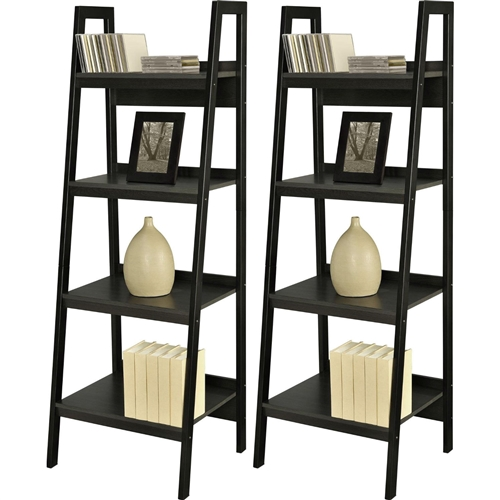Style your living room, den or office with the unique design of this Set of 2 - Black 4-Shelf Modern Ladder Style Bookcases. In this Bundle you not only receive 1 Ladder Bookcase, but 2 Ladder Bookcases for double the storage. Place the items next to each other or separated in the same room, or place them in 2 different rooms. No matter how you use them, you won't be disappointed with the functionality of these pieces. Each Bookcase consists of 4 different sized shelves, perfect for displaying your books, family photos or even house plants. A sleek Black finish with an industrial metal frame and ladder style design allows this piece to enhance your current decorating scheme. Bookcases look great together or separated – put them side by side against a wall or in different rooms.