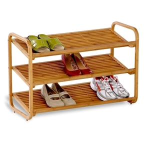 3-Tier Bamboo Shoe Rack Shelf - Holds 9-12 Pairs of Shoes, HCDB3TS3487 :  This 3-Tier Bamboo Shoe Rack Shelf  - Holds 9-12 Pairs of Shoes from Honey-Can-Do organizes the entryway and get green points at the same time for its environmentally savvy materials. Built with three tiers, the piece is constructed from bamboo, a fast-growing and durable alternative to timber. It features rounded corners, slatted shelves, and an adjustable design that allows shoes to rest on a flat or angled surface. Also great for the closet or mudroom, the piece is moisture resistant and fits in almost anywhere in the house, thanks to its natural finish. It holds 9 to 12 pairs of adult shoes, wipes clean for easy maintenance, and also comes in a two-tier version. Basic assembly is required, and Honey-Can-Do includes a limited lifetime warranty. Made from fast-growing bamboo for reduced environmental impact; Available in 2-tier and 3-tier models.