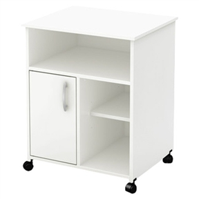 Both attractive and functional with clean contemporary styling, this Modern Home Office Printer Stand Cart with Casters in White is sure to enhance any home office. This printer stand matches many different environments, and is highlighted by sleek metal hardware. This item offers open and closed storage with one door and one adjustable shelf. In order to reduce the risks of damage to a minimum during shipment of your furniture, our packaging is ISTA 3A certified; Eco-friendly EPP-compliant laminated particle board carrying the Forest Stewardship Council (FSC) certification; Non-toxic materials and components; Metal knobs in silver finish. Product Warranty: 5 Year limited; Shelf Weight Capacity: 15lbs.; Door Handle Design: Drawer pull; Product Care: Wipe clean with a dry cloth; Country of Manufacture: Canada.