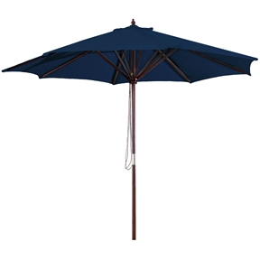 9-Foot Wood Frame Patio Umbrella with Pulley and Royal Blue Canopy, RBHIU478565 :  This 9-Foot Wood Frame Patio Umbrella with Pulley and Royal Blue Canopy would be a great addition to your home. We recommend to take inside during extreme weather to avoid damage. To clean use a mild soap and water solution. Material: 160G Polyester / Wood frame; Spun polyester canopy; Maintenance free; Fabric is designed to withstand up to 500 hours of direct sunlight. Not intended for Commercial Use, only warrantied for 500 hours of direct sunlight for commercial use.