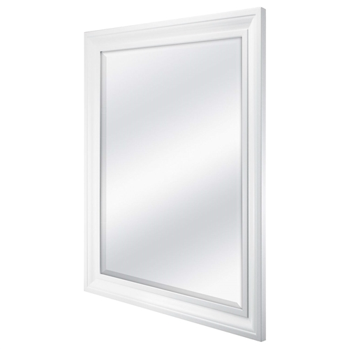 This Rectangular 32 x 26 inch Bathroom Wall Mirror with 1-inch Bevel and White Frame is 26.5 x 32.5 Inch overall with a 1 inch beveled mirror measuring 21.5 x 27.5 Inch. The wide 2.5 inch frame is molded in a nice White finish and includes installed hangers to hang the mirror either horizontally or vertically. The perfect accent mirror for the bedroom, bath, or entryway. D Ring hangers included