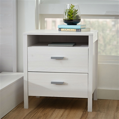 This Modern 2-Drawer Nightstand Bedside Table in Larch White Wash Woodgrain Finish would be a great addition to your home. It is eco-friendly and is made from PEFC certified sustainable wood. Product Care: Clean with damp cloth; Solid Wood Construction: No; Drawer Interior Finish: No; Bachelors Chest: Yes; Distressed: No; Eco-Friendly: Yes.