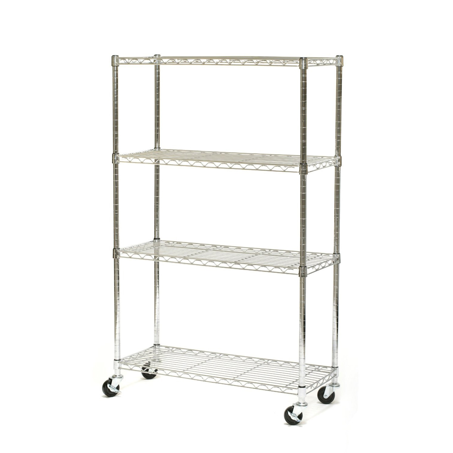 4-Shelf Storage Shelves Cart on Wheels in Chrome Metal, SC1454CW6601 :  This 4-Shelf Storage Shelves Cart on Wheels in Chrome Metal is the perfect storage system for your home, office, or warehouse. Each shelf can hold up to 500-Pound evenly distributed. No tools required; Simple setup; Shelf Capacity: 350-Pound per shelf.