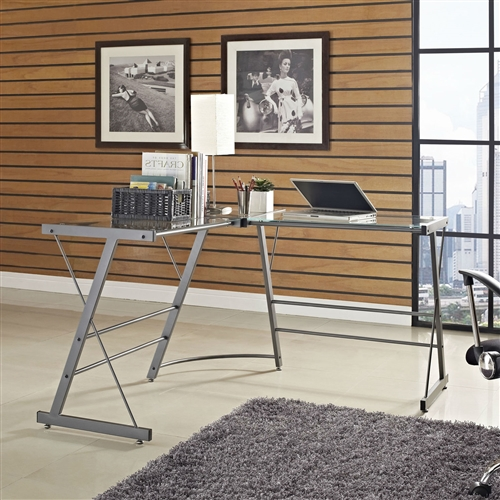 Talk about modern conveniences. This Metal Frame Glass Top L-Shape Desk - Laptop Computer Writing Table has a sleek glass work surface and streamlined gray metal frames. It fits perfectly in a corner and provides ample space for your computer, papers and books. And you get extra credit for great taste. Dark Gray Finish; 1 Year warranty; Desk Type: Writing desk; Top Material: Glass; Base Material: Metal; Design: L-Shape desk; Keyboard Tray: No; Drawers Included: No.