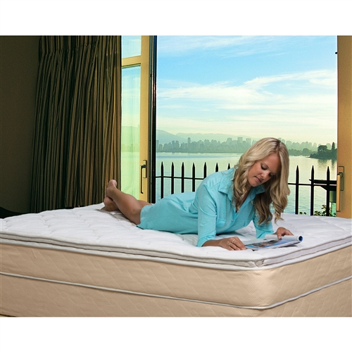 This Full size 10-inch High Profile Plush Pillow Top Innerspring Mattress will give you the rest you deserve. Its super-plush design contains a high-profile innerspring mattress that will give you the support you need and the softness you want. The mattress offers comfortable upholstery and a luxury-fabric wrap that'll make you never want to get out of bed. It also has a no-flip design that'll provide you with a single side designed to give your comfort and relaxation. With several sizes to choose from, you can find the right mattress to fit your needs.