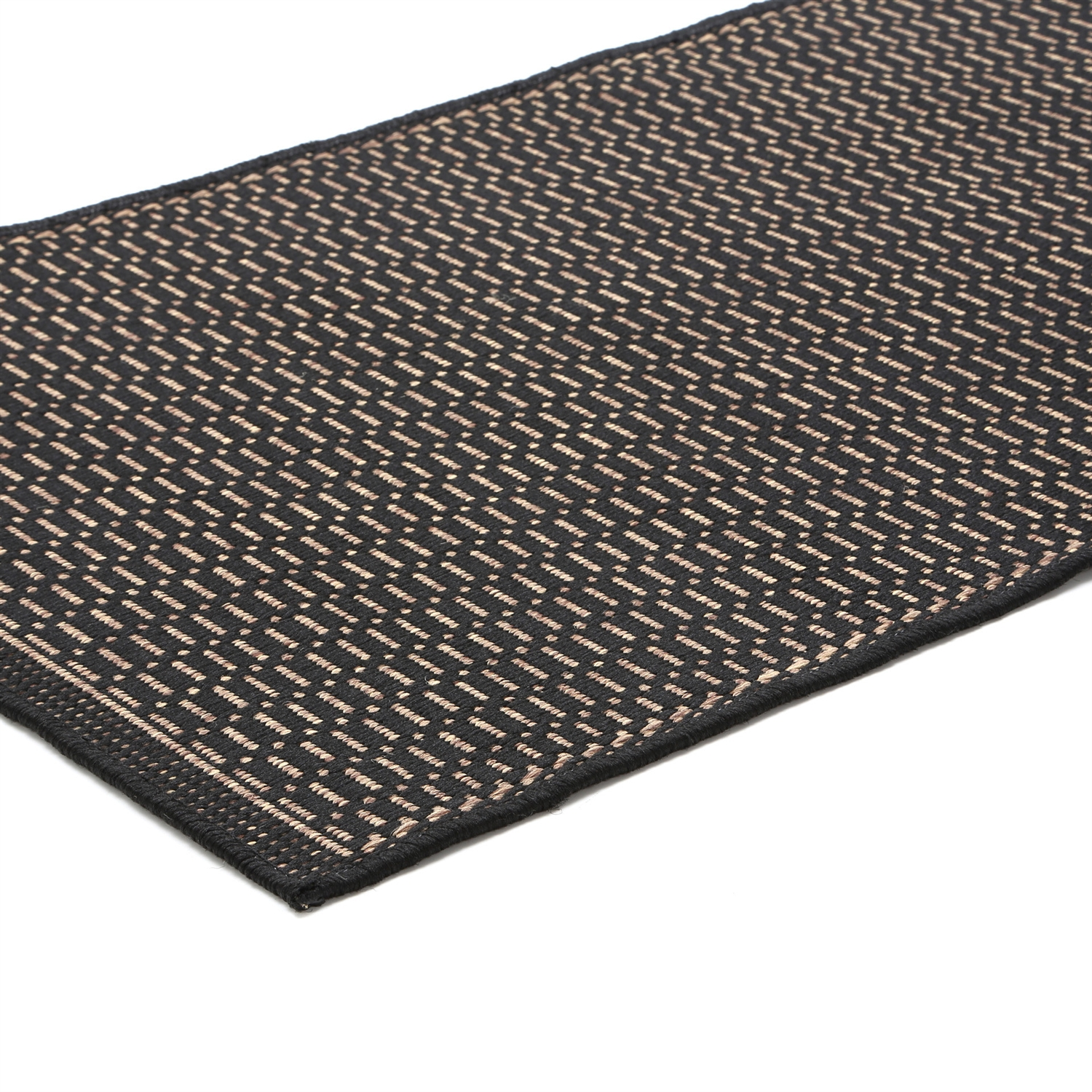 5'3 x 7'6 Saddle Stitch Area Rug in Black Cocoa for Indoor Outdoor Use, RSC8465158 :  Distinctively designed to complement the simple yet classic styling of this 5'3 x 7'6 Saddle Stitch Area Rug in Black Cocoa for Indoor Outdoor Use, uniquely colored to make stone entryways and patio decks warmer and more inviting. The naturally inspired color palette offered in this versatile collection features a series of unique combinations of natural hues that have been selected to complement today's hottest outdoor home furnishings. Including runners and special shapes in the form of rounds and squares. Featuring a Structured Flatwoven Construction; Primary Color: Black; Secondary Colors: Natural-Beige.