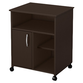 Both attractive and functional with clean contemporary styling, this Contemporary Printer Stand Cart with Storage Shelves in Chocolate is sure to enhance any home office. This printer stand matches many different environments, and is highlighted by sleek metal hardware. This item offers open and closed storage with one door and one adjustable shelf. In order to reduce the risks of damage to a minimum during shipment of your furniture, our packaging is ISTA 3A certified; Eco-friendly EPP-compliant laminated particle board carrying the Forest Stewardship Council (FSC) certification; Non-toxic materials and components; Metal knobs in silver finish; 5 Years warranty. Door Type: Swivel; Shelf Weight Capacity: 15lbs. Weight Capacity: 50lbs. Eco-Friendly: Yes; Product Care: Wipe clean with a dry cloth; Country of Manufacture: Canada.