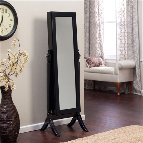 Full Length Tilting Cheval Mirror Jewelry Armoire in Black Wood Finish, BFLMA618981 :  Keep all your family jewelry organized in this Full Length Tilting Cheval Mirror Jewelry Armoire in Black Wood Finish. This elegant piece of furniture is a must have for anyone with limited bedroom space. It is made of high quality birch wood and MDF, and it has a classic black finish. On the outside it has a full-length mirror almost 6-feet tall. Open the swinging door inside you will find spots for all your precious belongings, including necklace hooks, earring slots, and ring cushions. Pocket shelves store bracelets, watches, brooches, and more; Material Birch wood and MDF Style Traditional, Transitional.